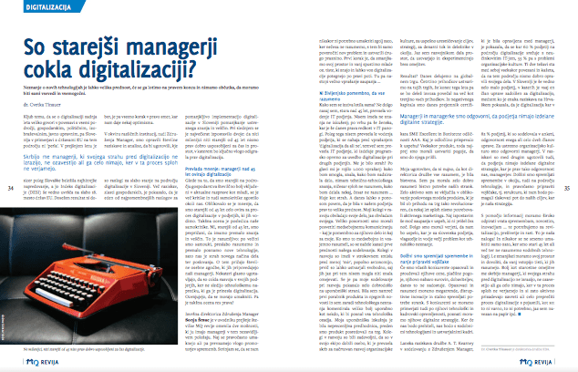 Article about digitalization in the Manager magazine